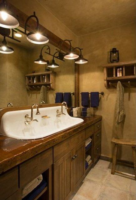 White Trough Sink Combined with Wooden Vanity Cabinet and Nice ...