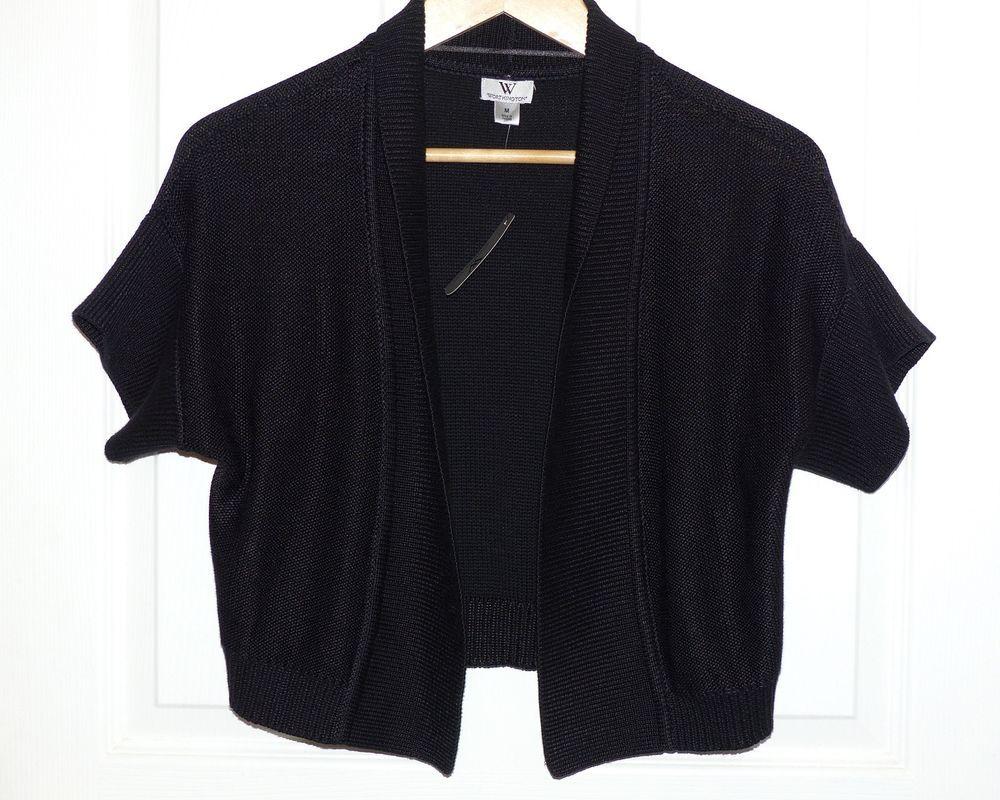 Worthington Black Short Sleeve Bolero Shrug Sweater Cardigan Open ...