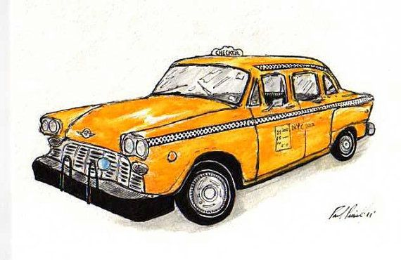 New York taxi sign yellow cab Sketch Colorful handmade |Yellow Taxi Cab Drawing