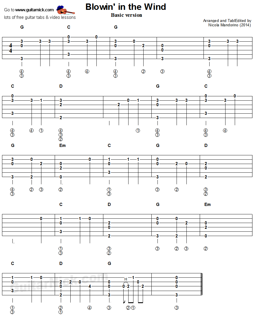 Blowin In The Wind Fingerstyle Guitar Tablature 1 Piesne
