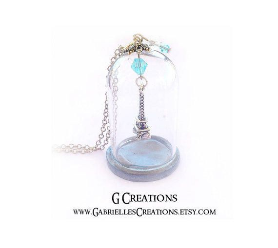 Silver Eiffel Tower Globe Necklace Winter in Paris #eiffel #dome #glass #necklace #jewelry