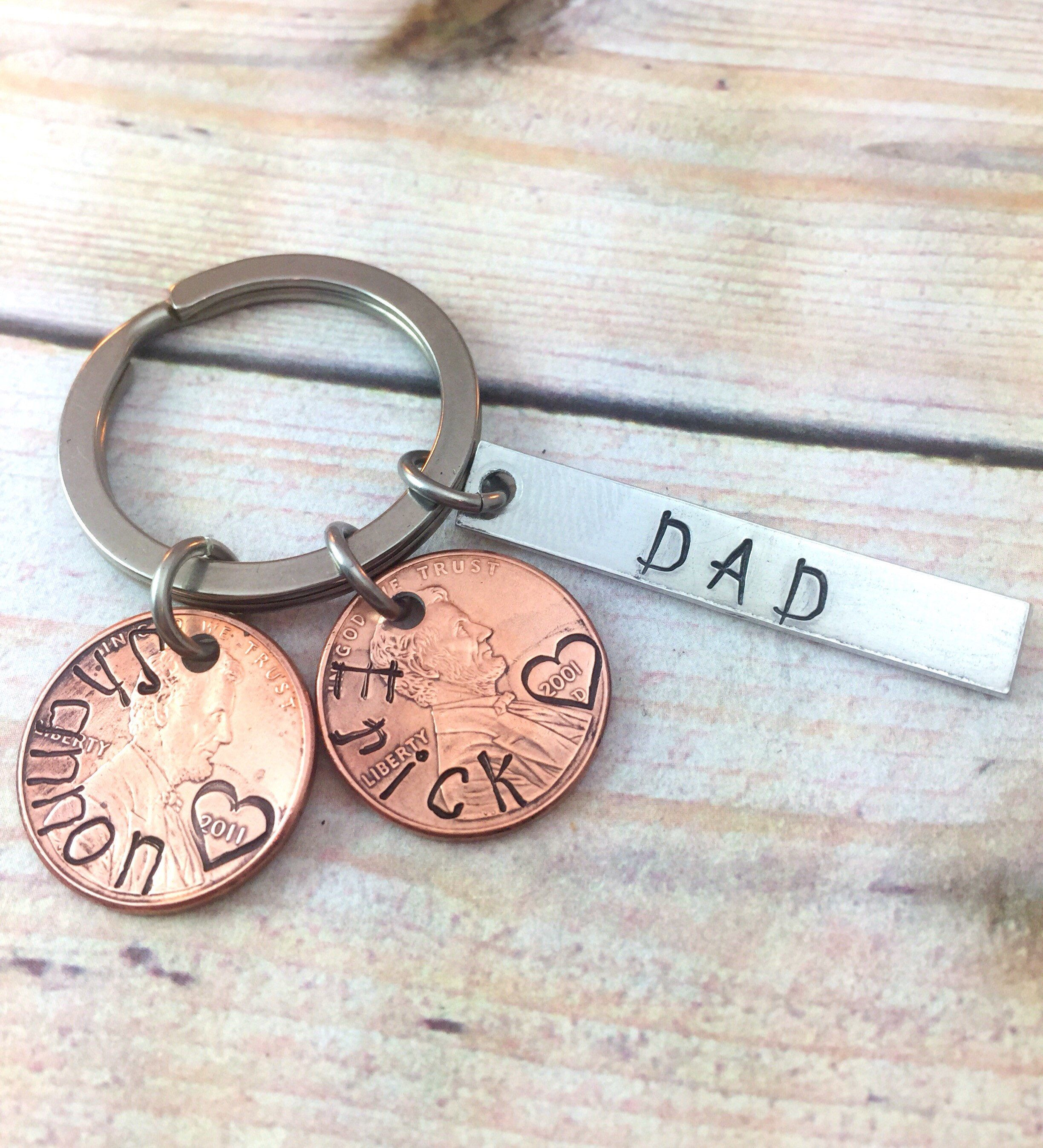 Dad penny keychain penny year keychain gift for dad gift
