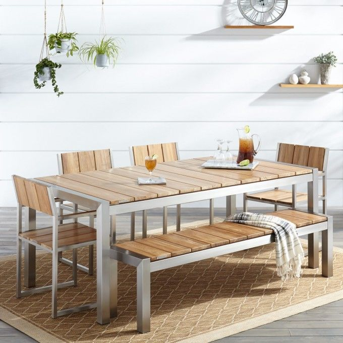 Best Macon 6 Piece Rectangular Teak Outdoor Dining Table Set 400 x 300