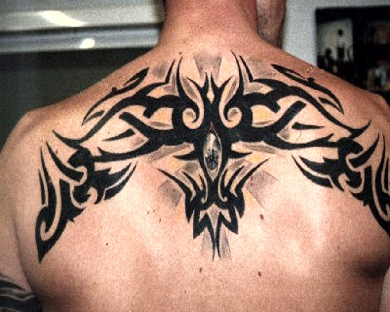Tribal Back And Shoulder Tattoos For Men