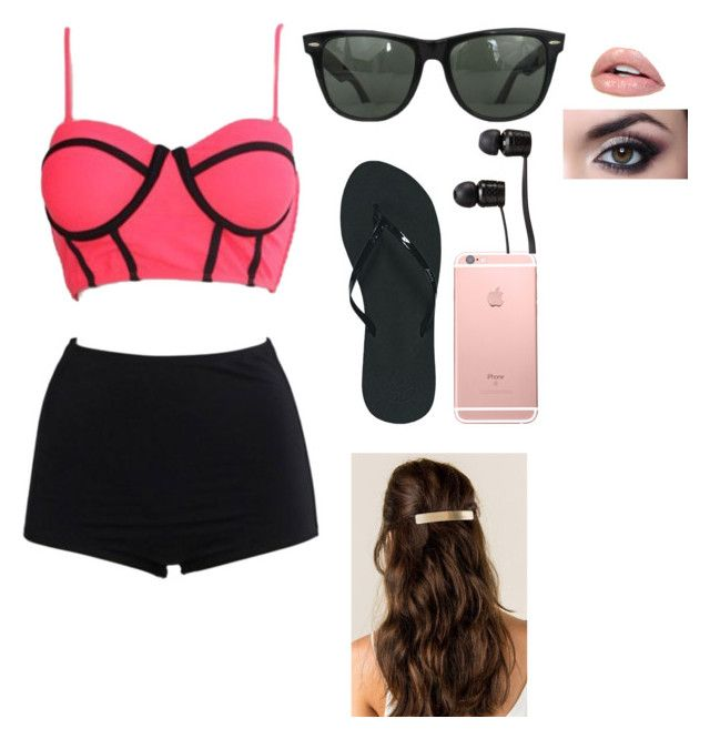 """""""Bathing suit chick"""" by keira-brooks on Polyvore featuring WithChic, Reef, Ray-Ban and Vans"""