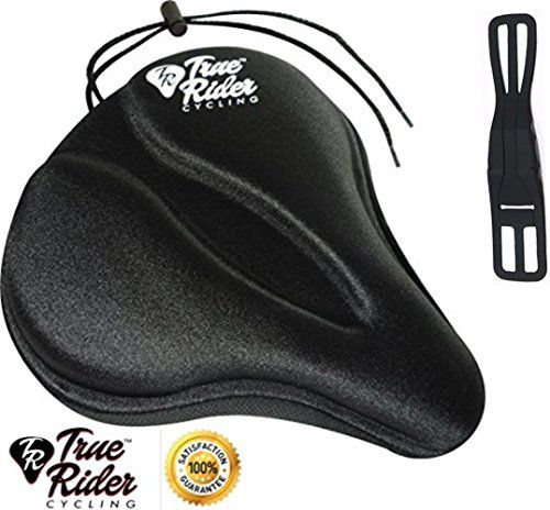Exerciser Bike Comfort Seat Bicycle Deluxe Gel Saddle Cover Black for Cruiser