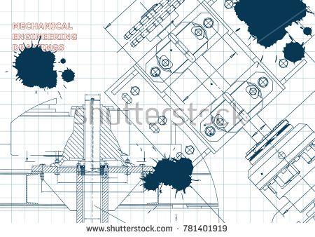 Blueprints. Mechanical construction. Technical Design. Engineering Cover. Banner. Draft. Ink. Blots #bubushonok #art #bubushonokart #design #vector #shutterstock #technical #engineering #drawing #blueprint  #technology #mechanism #draw #industry #construction #cad