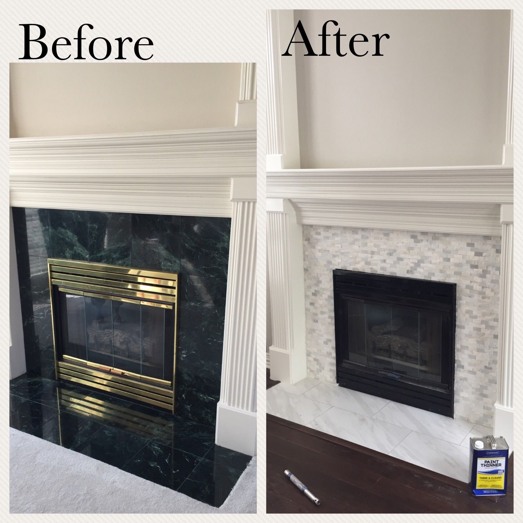 carerra marble mosaic replaced the outdated fireplace surround for a
