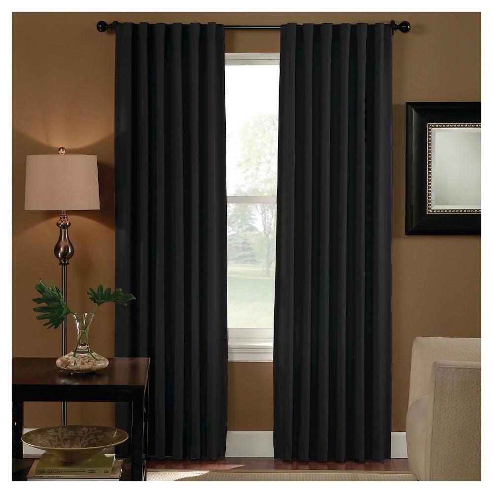 Curtainworks Saville Back Tab Room Darkening Curtain Panel   Black (120)