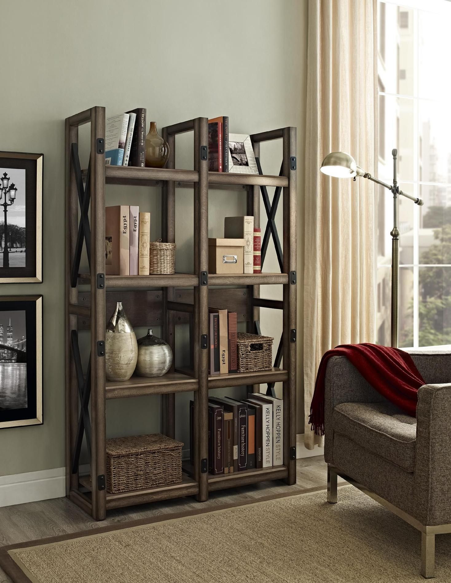 Dorel Home Furnishings Wildwood Rustic Gray Bookcase Room Divider