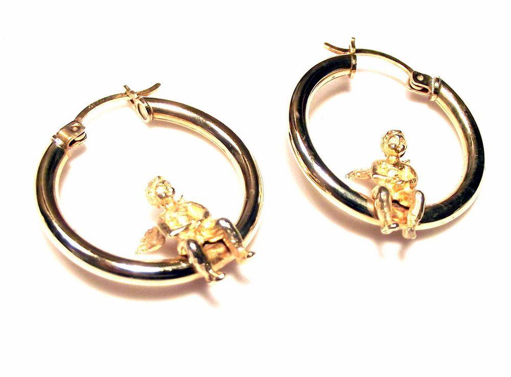 10k 417 Yellow Gold 1 Cherub Angel Hoop Earrings 4 7 Grams S Or Wear