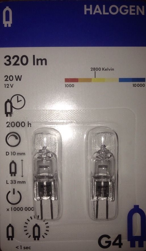 IKEA HALOGEN 20 W 12 V Bi-Pin G4 Base 320 lm Clear Light Bulb 2-Pack