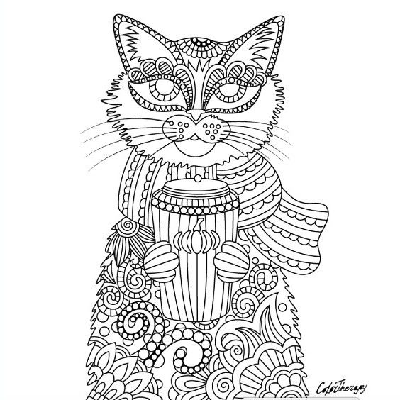 grown up coloring pages cats - photo#7
