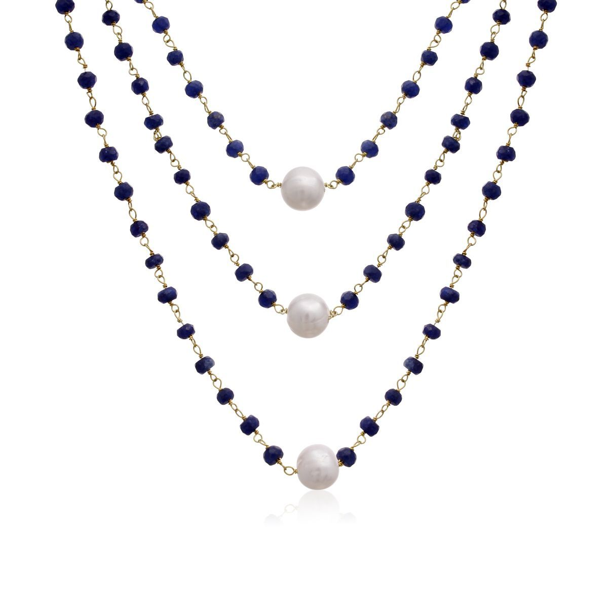 41 Carat Sapphire and Pearl Triple Strand Necklace In 14K Yellow Gold Over Sterling Silver, 20