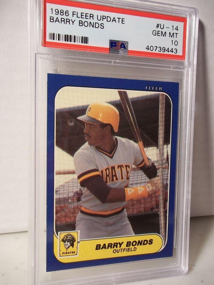 1986 Fleer Update Barry Bonds Rookie Psa Gem Mint 10 Baseball Card U 14 Mlb Pittsburghpirates Baseball Cards Barry Bonds Baseball Cards For Sale