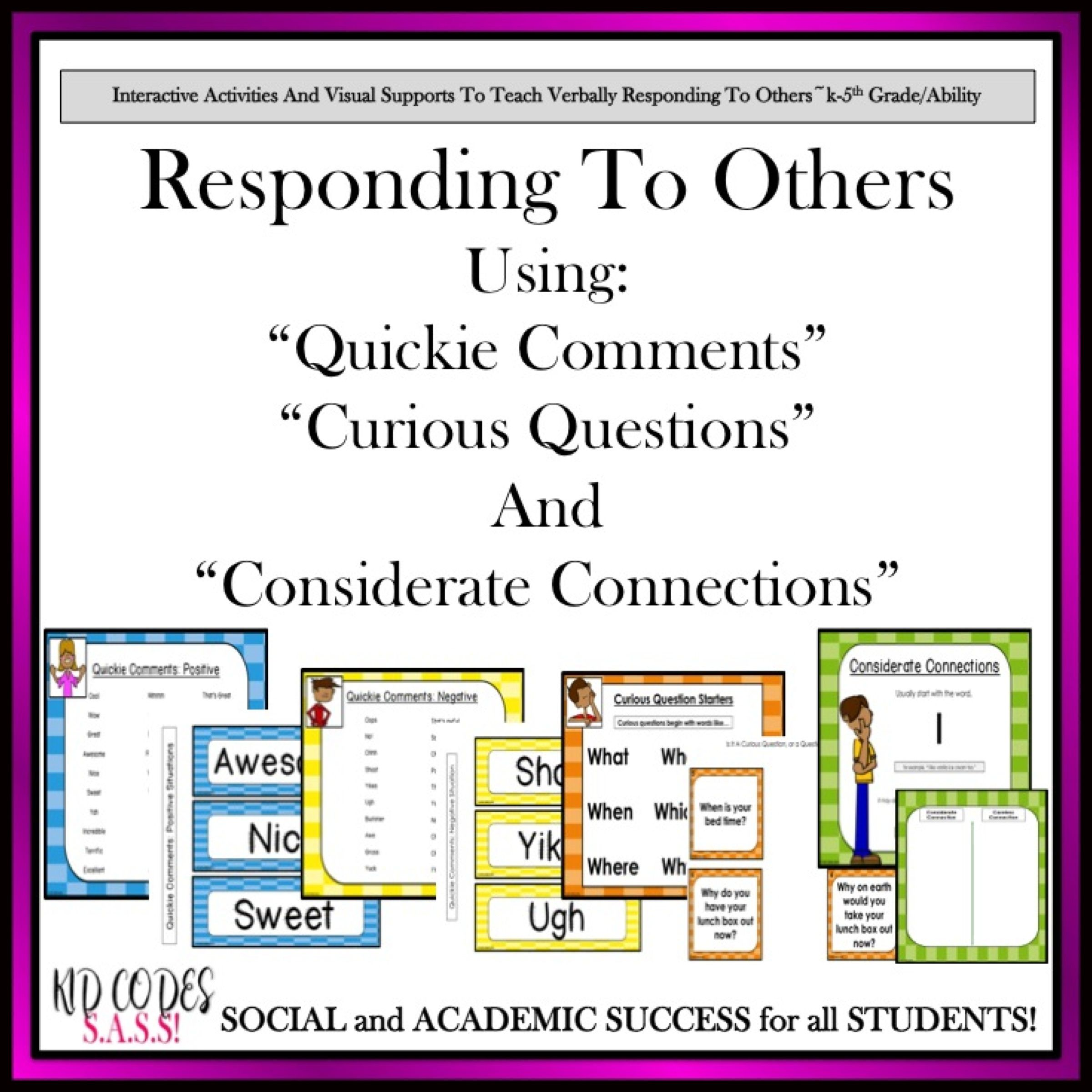 Conversation And Social Skills Responding To Others