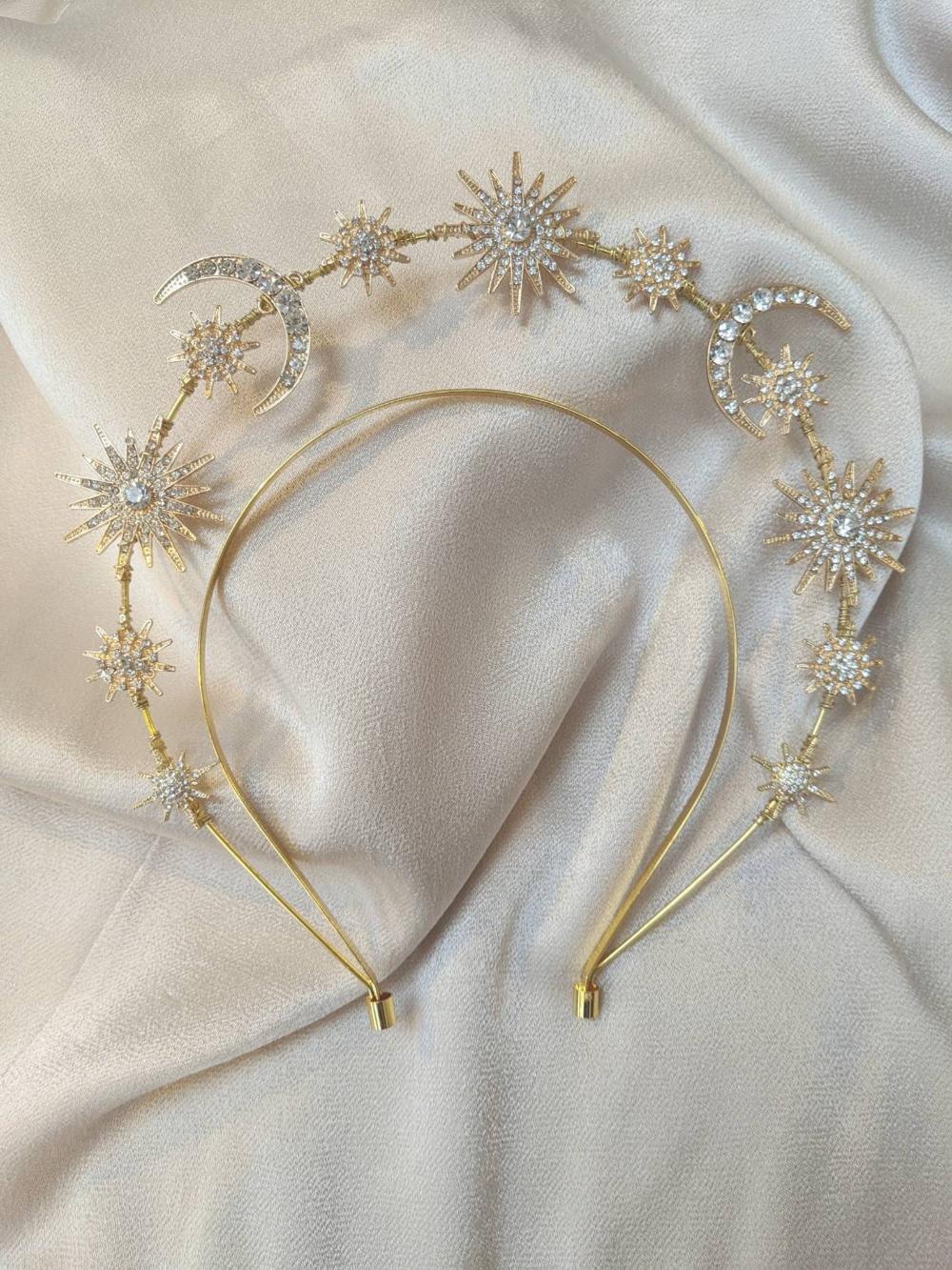 Gold Galaxy Halo Crown Gold Halo Crown Gold Headband Gold Etsy In 2020 Crystal Headband Gold Headband Silver Headband