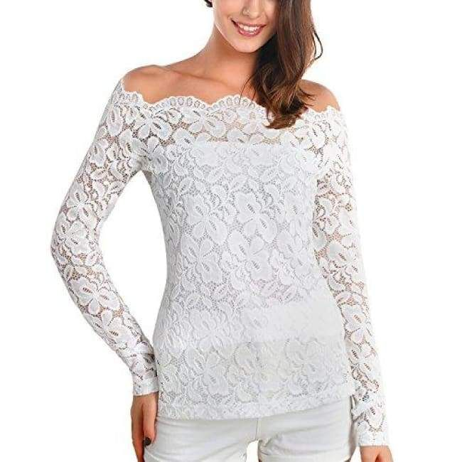 913fae5e21e Boat Neck Floral Lace Raglan Long Sleeve Shirt Top | Products in ...