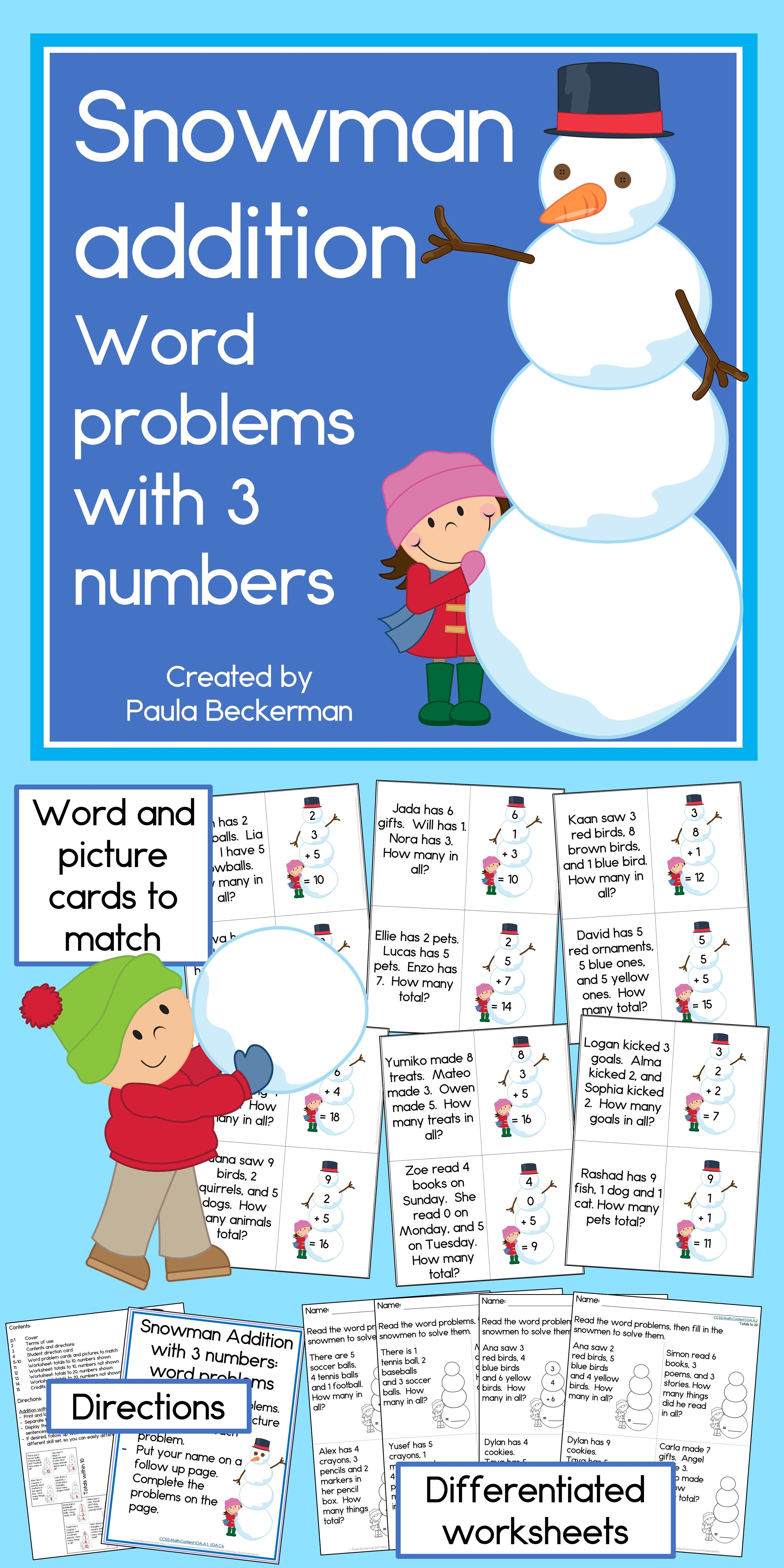 Snowman Addition Word Problems with 3 numbers | Math, Word problems ...