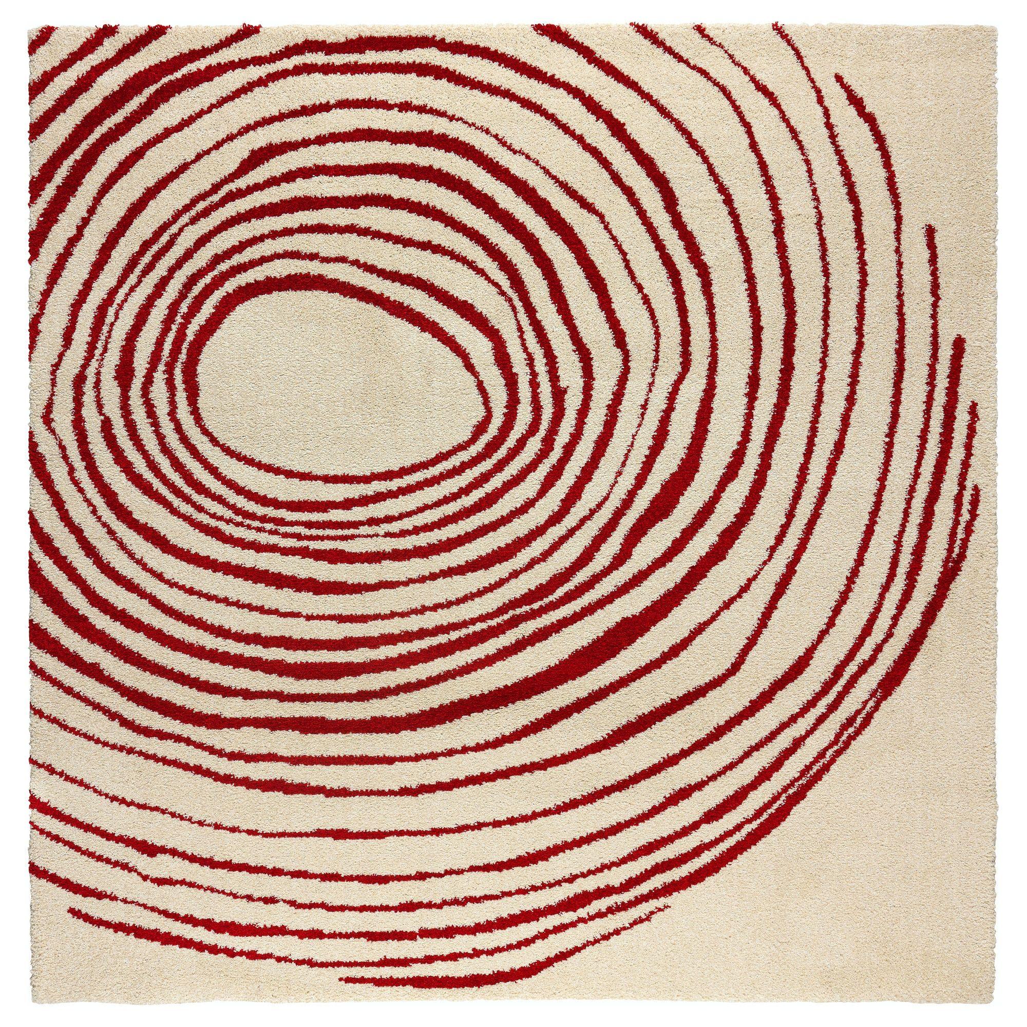 Eivor Cirkel Rug High Pile White Red 6 7 X6 7 Ikea