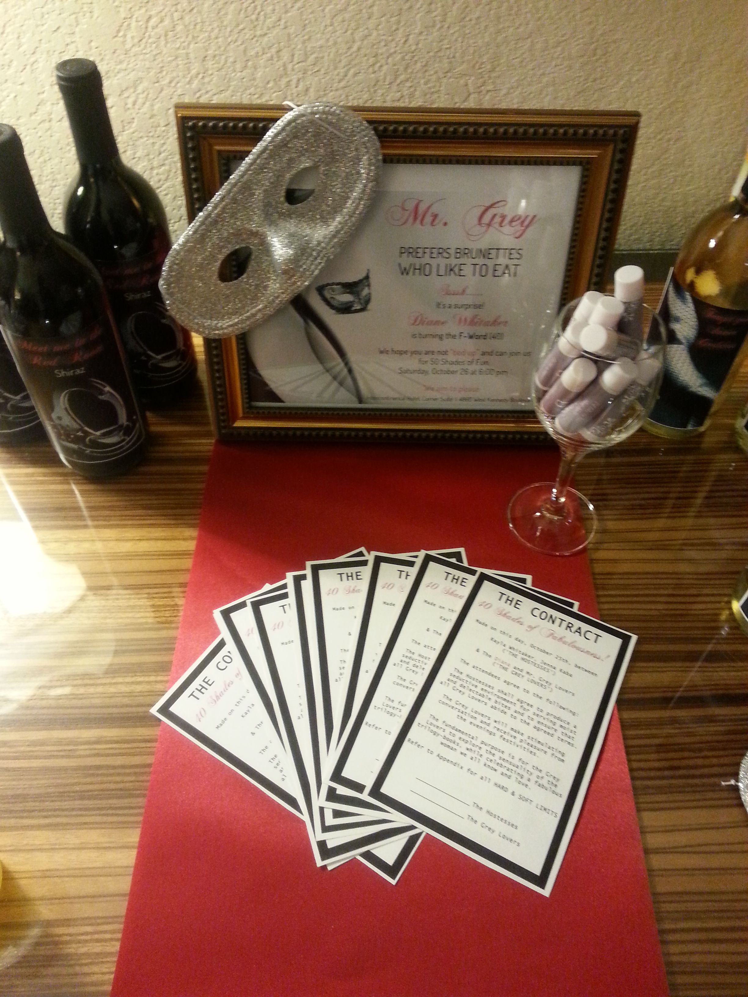 50 Shades Of Grey Invitation Contract Decor And Wine Bottles Fifty Shades Party Ideas Grey Invitations 50 Shades Party
