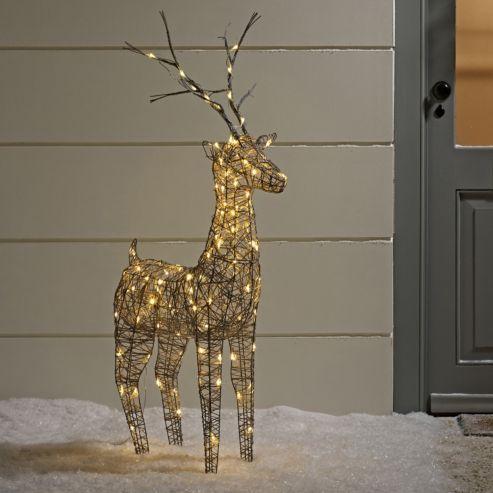 Large grey wicker light up led christmas reindeer for indoor large grey wicker light up led christmas reindeer for indoor outdoor use mozeypictures Images