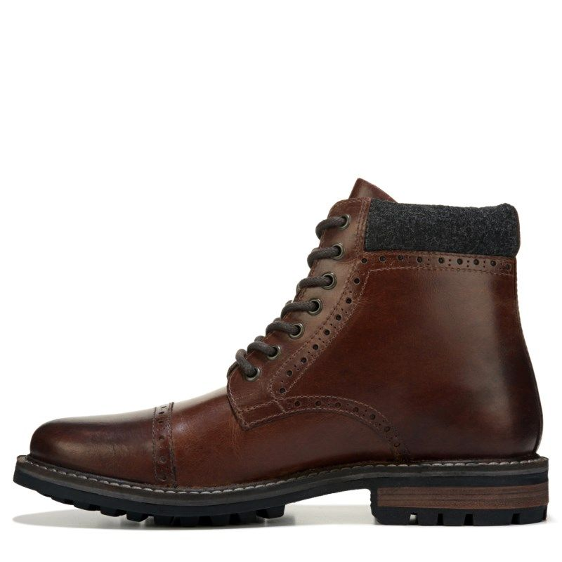 Crevo Men's Quebec Memory Foam Cap Toe Lace Up Boots (Chestnut Leather)