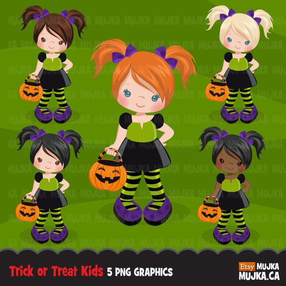 Halloween Trick Or Treat Clipart Cute Kids In Halloween Etsy Halloween Clipart Halloween Hacks Halloween Trick Or Treat