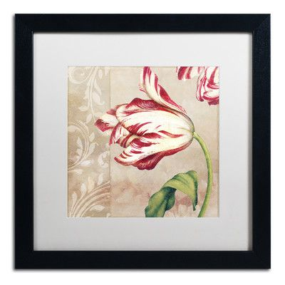 """Trademark Art 'Peppermint Tulips II' by Color Bakery Framed Graphic Art Mat Color: White, Size: 16"""" H x 16"""" W x 0.5"""" D"""