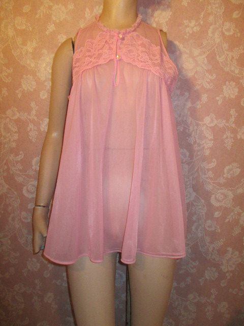 04697637bff Pink Vintage Nightgown Sheer Double Chiffon Babydoll by WeeBitUsed XS Small   vintage  vintageFashion  pinup  SheerNightgown