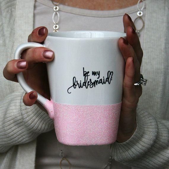 Will You Be My Bridesmaid Glitter Coffee Mug