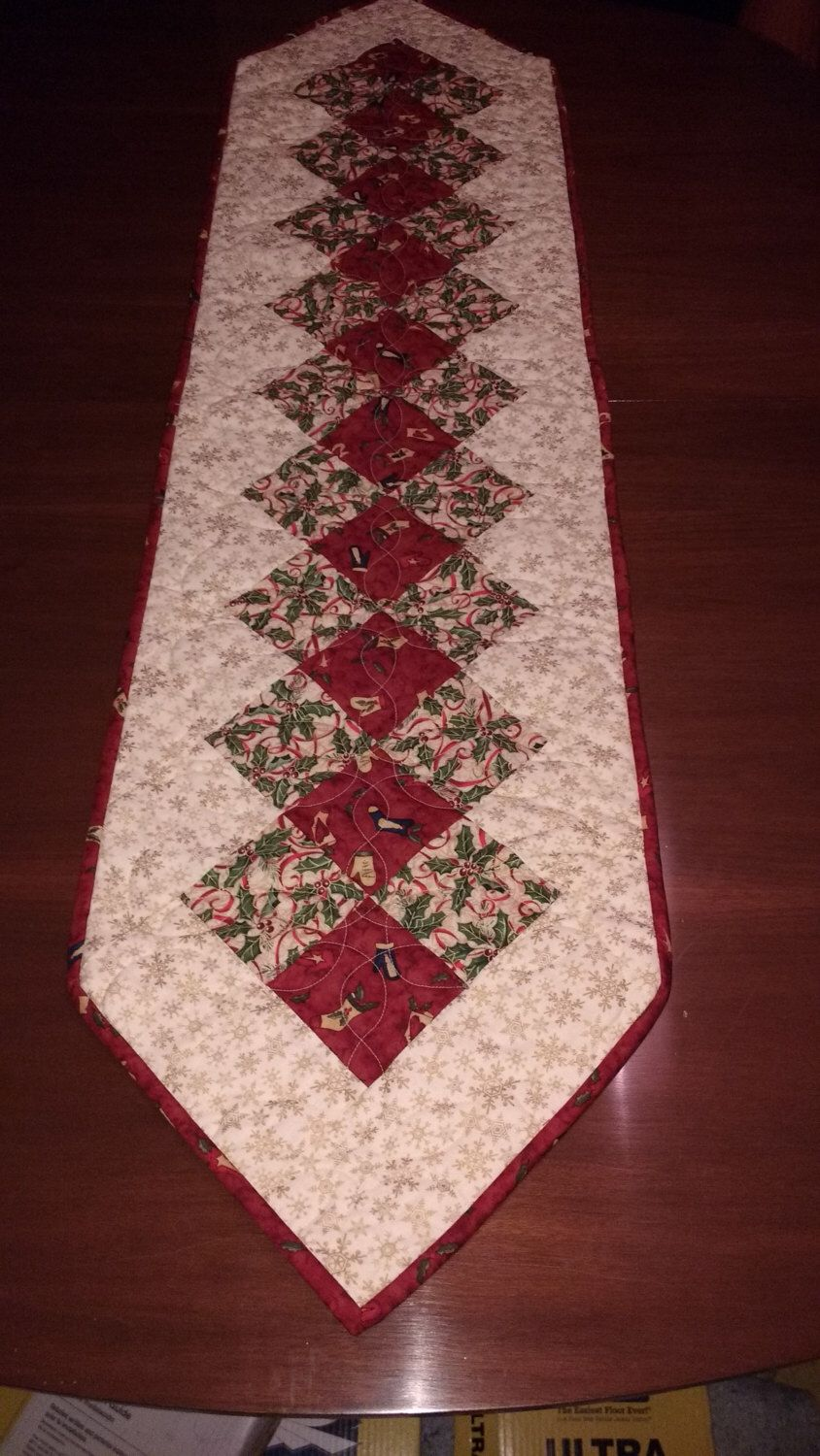 Christmas table runner quilted table runner red and