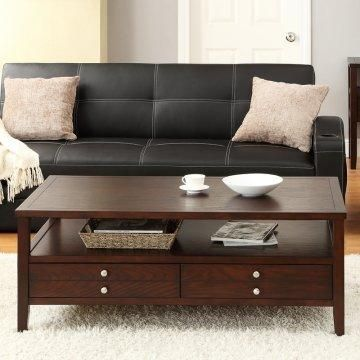 Exquisite Coffee Tables With Built In Storage Space : Gorgeous Wooden  Espresso Finish Rectangular Shaped Coffee Table With Two Drawers Idea