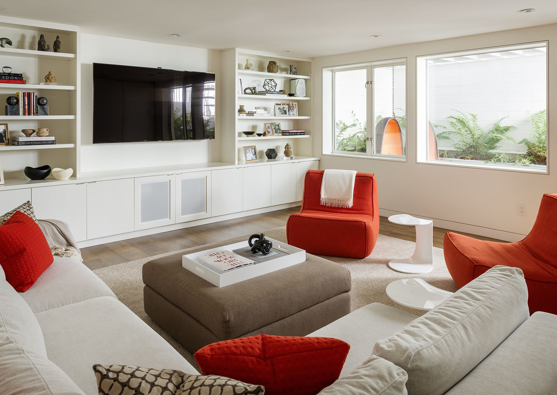 Family room sutro architects built in storage tv cabinets design projects modern
