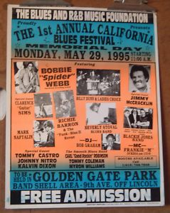 Bobbie Spider Webb Tommy Castro original 1995 event poster, sf, Blues Festival #OG
