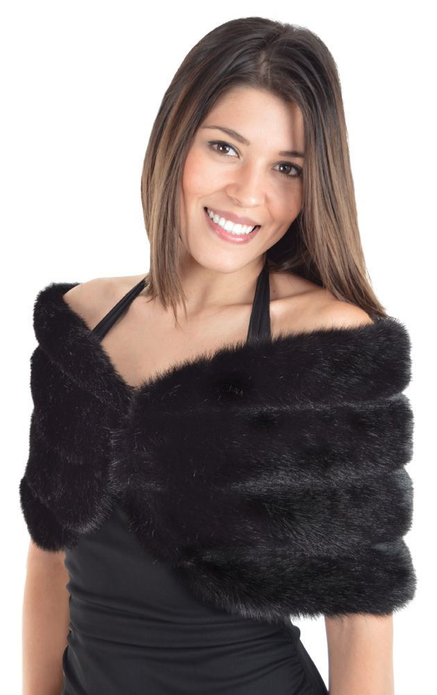 Faux Mink Black Shoulder Wrap Vest Outfits For Women