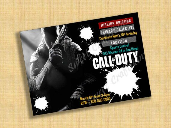 call of duty birthday party invitation template Cogimbous
