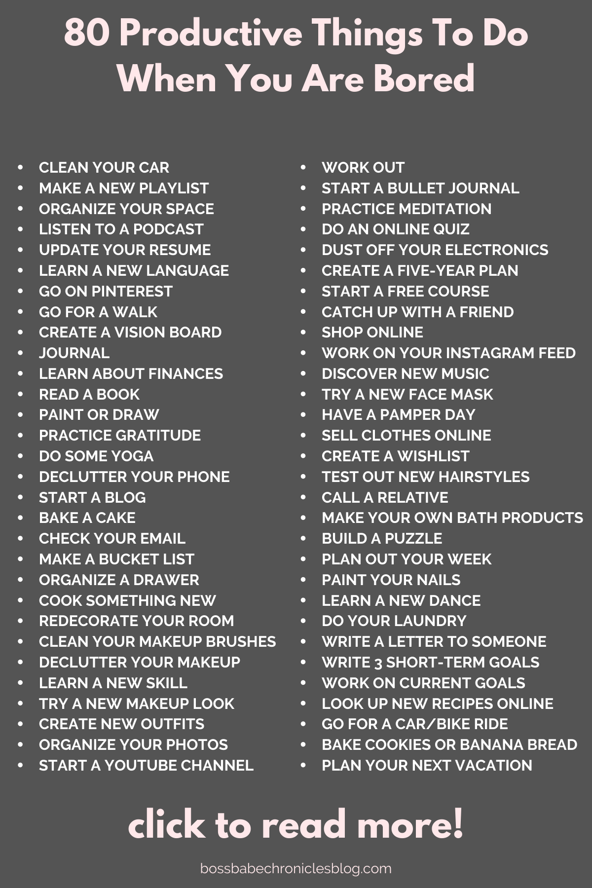 If you are feeling bored but don't want to watch Netflix, here are 80 productive things you can do to get rid of the boredom AND get stuff done! Click for more! Productivity hacks, how to be productive, how to stay busy, staying busy in the house, what to do at home, things to do when you are bored, things to do around the house. #productivity #howtobeproductive #personaldevelopment #stayingactive #beingproductive