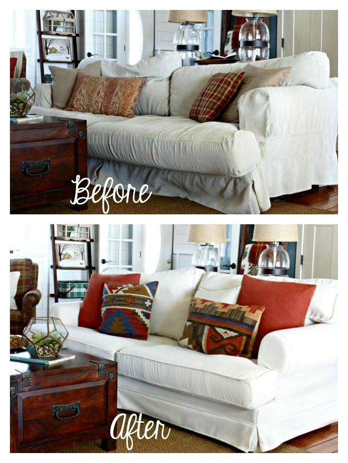Sofa Slipcover Review   Info On The Product + Before And After Pics Of How  Neat And Tailored And New This Sofa Looks With The New Cover!