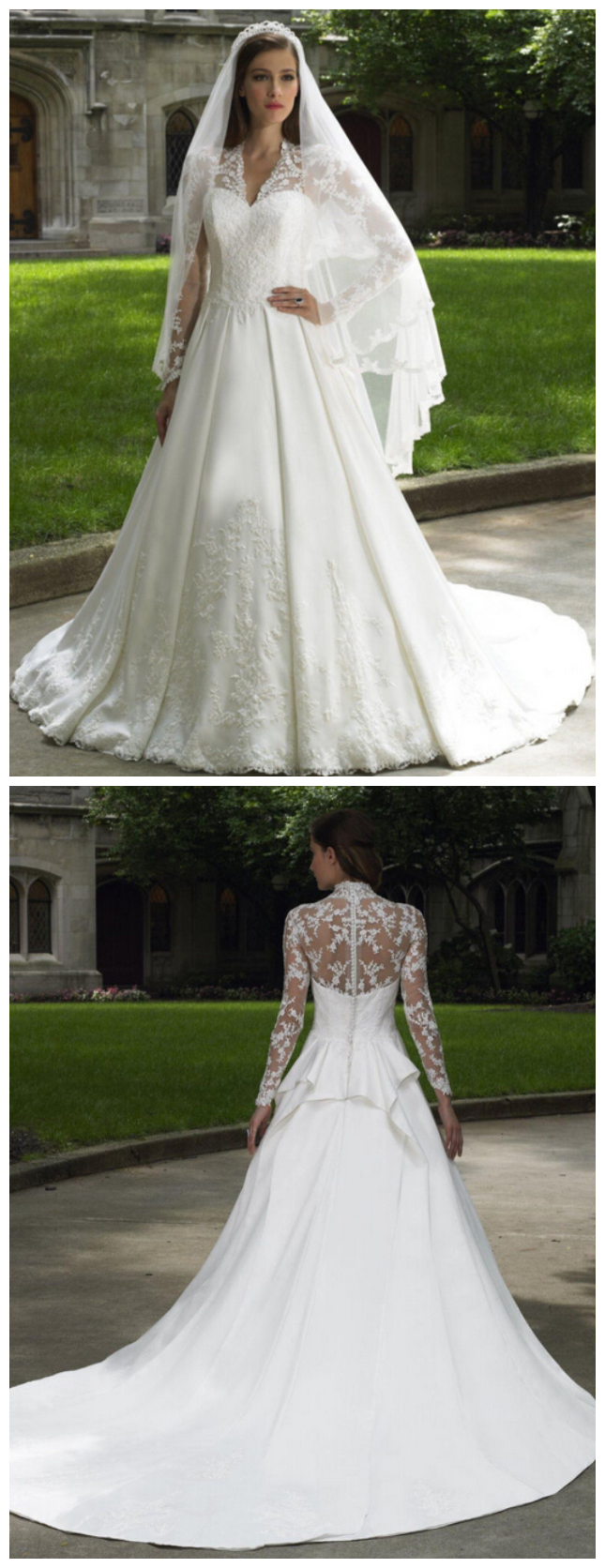 Romantic european and american fashion simple lace longsleeved