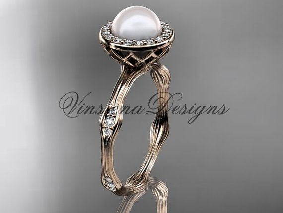 14kt rose gold pearldiamond halo engagement by VinsienaDesigns