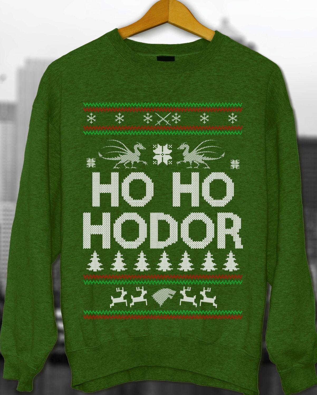 Ugly Christmas Ugly Christmas Sweater Christmas Sweater Game Of Thrones Ho Ho Hodor Sweatshirt Christmas Gift (29.95 USD) by styleURshirt