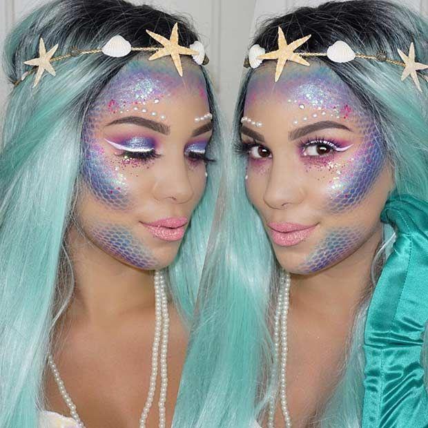 43 Pretty And Easy Halloween Makeup Looks Stayglam Halloween Makeup Easy Halloween Makeup Looks Mermaid Makeup Tutorial