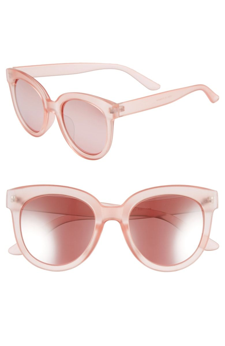 6397b7719e2af 53mm Frosted Cat Eye Sunglasses, Main, color, Milky Pink  Rose Gold ...