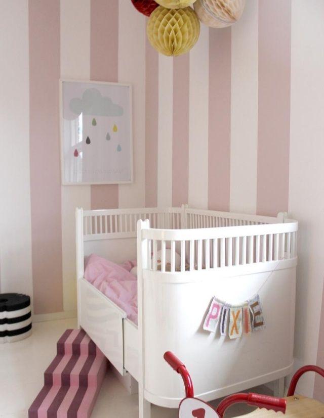 wandfarbe kinderzimmer babybett rosa weiß streifen | Baybyzimmer ...