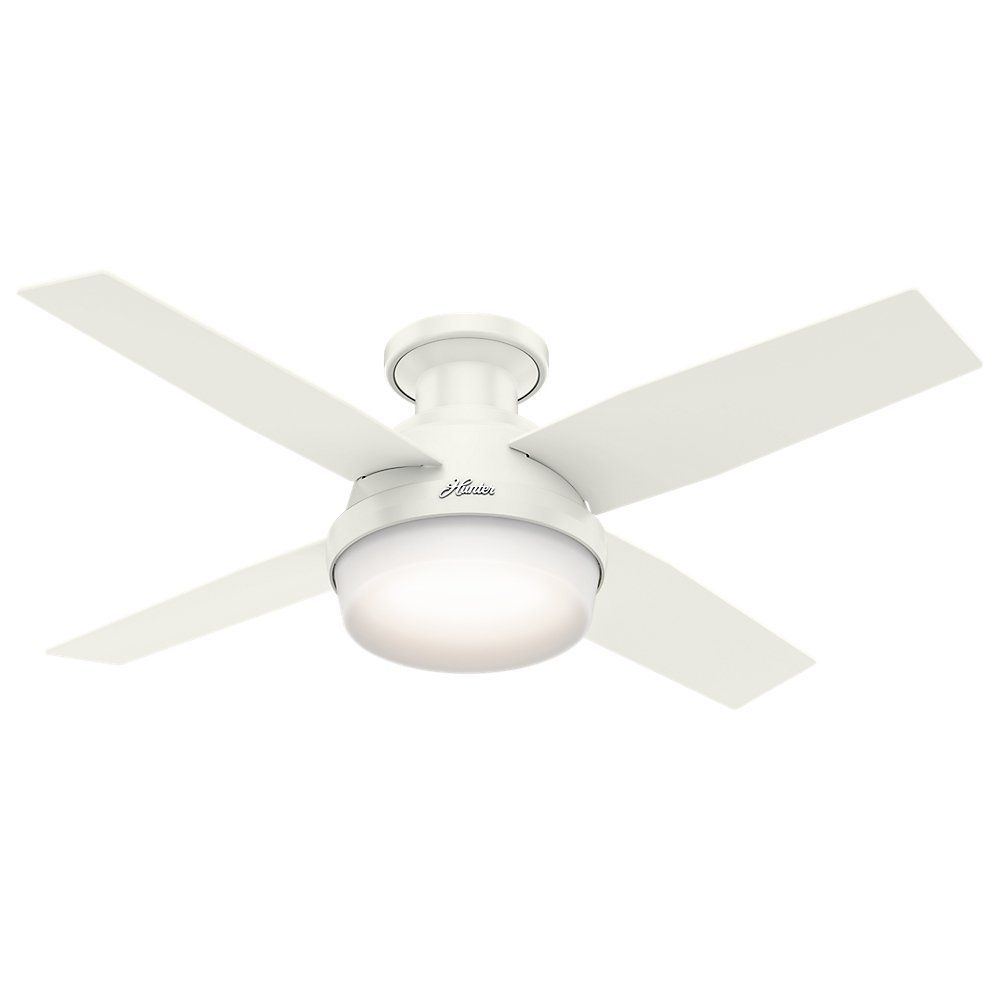 Hunter 59244 Dempsey Low Profile Fresh White Ceiling Fan With Light Remote 44 Inch