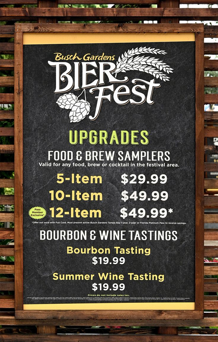 Sampling Lanyard price board from Bier Fest 2019 at Busch