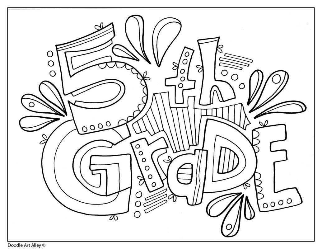 Grade Signs - Classroom Doodles  School coloring pages, Grade