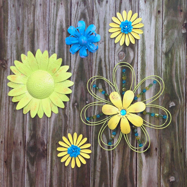 Metal Wall Flowers 5 lime, blue, yellow metal fence & wall flowers / metal yard art