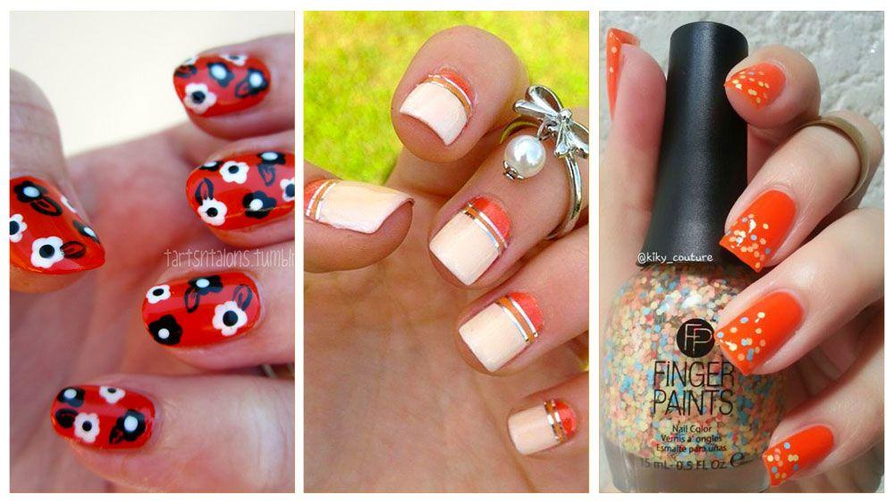 Fotos de uñas color naranja - 50 ejemplos - orange nails ...